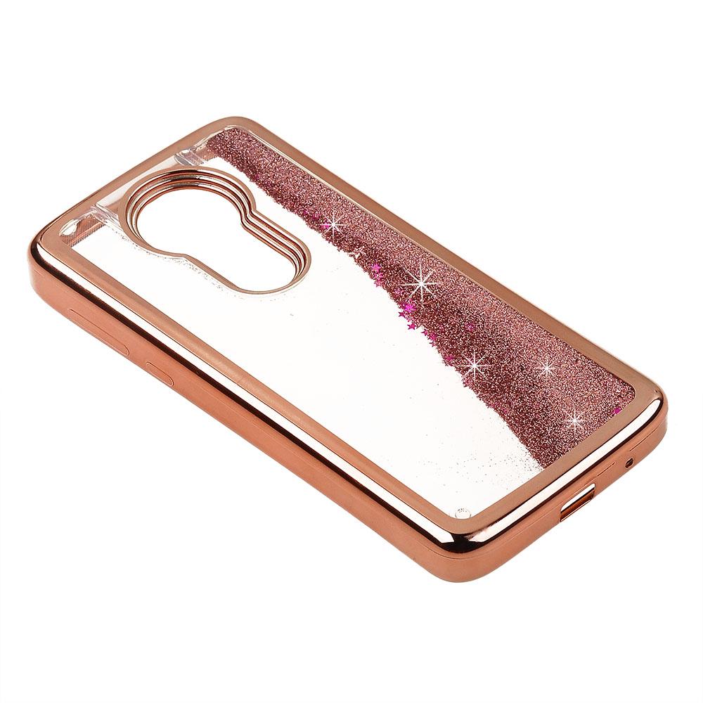 7acb15553fd2 Cube® - Motorola Moto E5 Plus   E5 Supra - Liquid Glitter Hearts filled Case  with Rose Gold colored Chrome Bumper