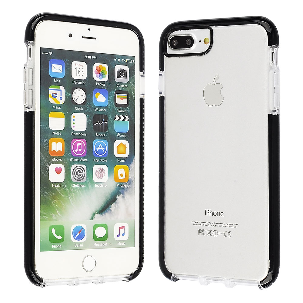 Apple Iphone 8 Plus 7 6s 6 Bumper Cube Scratch Proof And Shock Resistant Clear Tpu Cover With Black