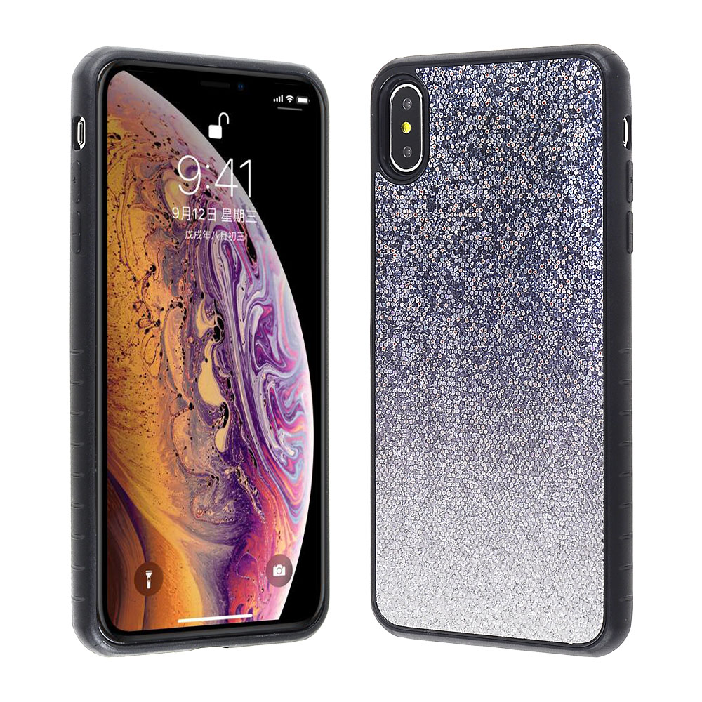 f8d65383c0312 Apple iPhone Xs Max - Gray and Silver Glitter Ombre Cover with Black ...