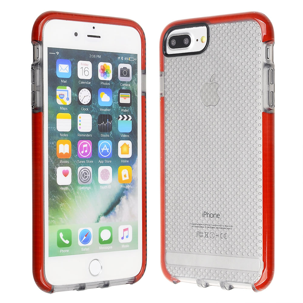 5ba3531759d3 Cube® - Apple iPhone 8 Plus   iPhone 7 Plus   iPhone 6s Plus   iPhone 6 Plus  - Scratch-Proof and Shock Resistant Clear Black Textured TPU Cover with Red  ...
